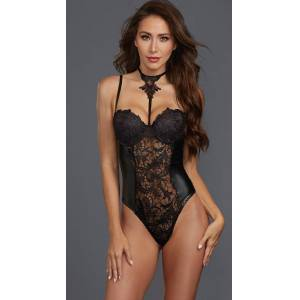 Dreamgirl Leather & Lace Choker Teddy by Dreamgirl, Black, Size S - Yandy.com