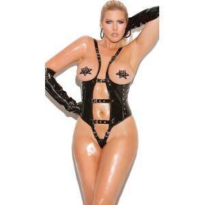 Elegant Moments Plus Size Seductress Black Cupless Teddy by Elegant Moments, Size Queen Size / Plus Size Open Cup Vinyl Bodysuit, Plus Size Sexy Leather Onesies