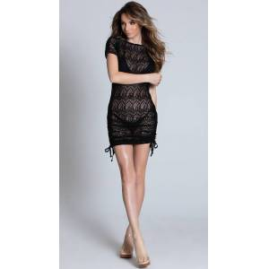 Mapale Cinch Side Beach Dress by Mapale, Black, Size S / Short Cover Up Dress, Crochet Cover-Up - Yandy.com