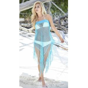 Mapale Convertible Fringe Cover-Up by Mapale, Turquoise, Size XL - Yandy.com