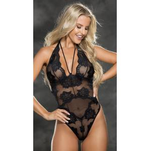 Shirley of Hollywood Flaunt It Floral Teddy by Shirley of Hollywood, Black, Size S - Yandy.com
