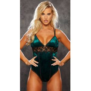 Shirley of Hollywood Crushing On Velvet Teddy by Shirley of Hollywood, Emerald/Black, Size S - Yandy.com