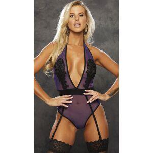 Shirley of Hollywood Midnight Mesh Applique Teddy by Shirley of Hollywood, Purple/Black, Size S - Yandy.com