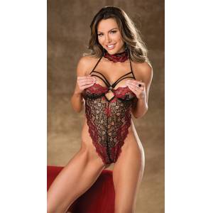 Shirley of Hollywood Heat Of The Moment Two Tone Teddy by Shirley of Hollywood, Black/Red, Size S - Yandy.com