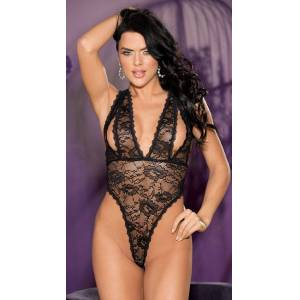 Shirley of Hollywood Duchess Stretch Lace Teddy by Shirley of Hollywood, Black - Yandy.com
