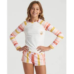 Billabong Girls' So Stoked Long Sleeve Rashguard  - White - Size: 2X-Small