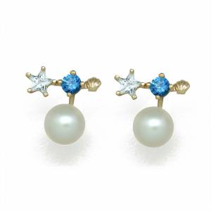 silverbene Natural White Pearl Luxury Star Elegant 925 Sterling Silver Studs Earrings