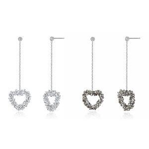 silverbene Elegant Austrian Crystal Heart CZ 925 Sterling Silver Dangling Earrings