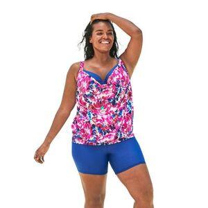 Swim 365 Plus Size Women's Bra-Sized Blouson Tankini Top by Swim 365 in White Multi Floral (Size 46 C)