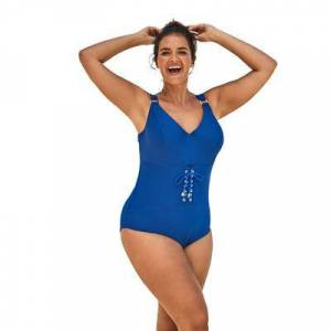 Swim 365 Plus Size Women's Ribbed Underwire One-Piece by Swim 365 in Dream Blue (Size 18)