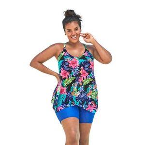 Swim 365 Plus Size Women's Longer Length Mesh Tankini Top by Swim 365 in Black Tropical Floral (Size 18)