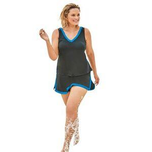 Swim 365 Plus Size Women's 2-Piece Swim Skirtini Set by Swim 365 in Black Blue Sea (Size 22)