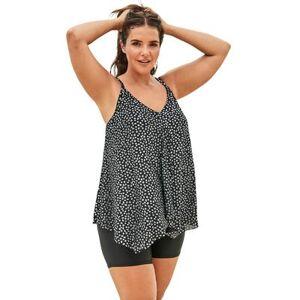 Swim 365 Plus Size Women's Longer Length Mesh Tankini Top by Swim 365 in Silver Dots (Size 18)