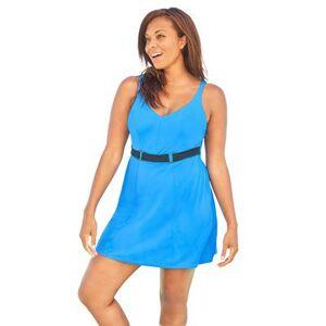 Swim 365 Plus Size Women's Underwire Belted Swim Dress by Swim 365 in Horizon Blue (Size 18)