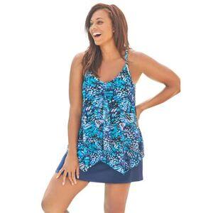 Swim 365 Plus Size Women's Longer Length Mesh Tankini Top by Swim 365 in Teal Blue Butterfly (Size 18)