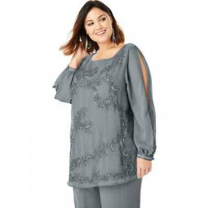 Roaman's Plus Size Women's Beaded Illusion-Sleeve Top by Roaman's in Gunmetal (Size 18 W)