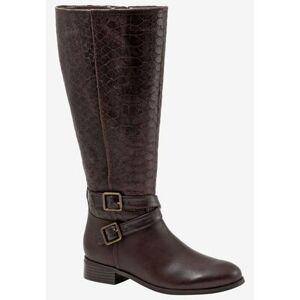Trotters Wide Width Women's Liberty Boot by Trotters in Dark Brown Snake (Size 9 1/2 W)