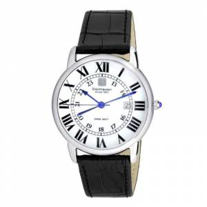 Steinhausen Delmonte White Dial Black Leather Men's Watch S0718