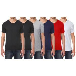 Galaxy by Harvic Men's Extra Soft Stretch Technology Premium Quality V-Neck Tees - 6 Pack  size: