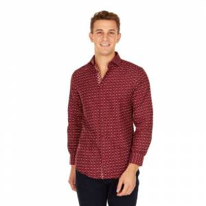 Suslo Couture Men's Slim Fit Winter Printed Long Sleeve Button Down Shirt