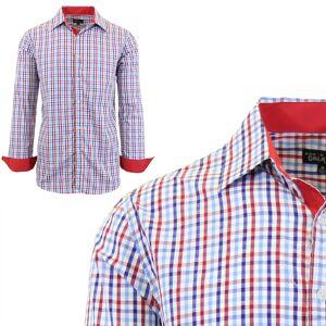 Galaxy by Harvic Men Long Sleeve Checkered & Pinstripe Dress Shirt  size: