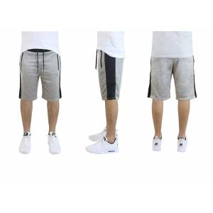 Galaxy By Harvic Men's French Terry Shorts, Zipper Side Pockets, Contrast Trim
