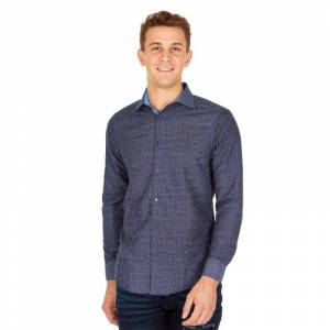 Suslo Couture Men's Slim Fit Generic Printed Long Sleeve Button Down Shirt