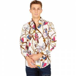 Suslo Couture Men's Slim Fit Winter Printed Long Sleeve Button Down Shirt  size: