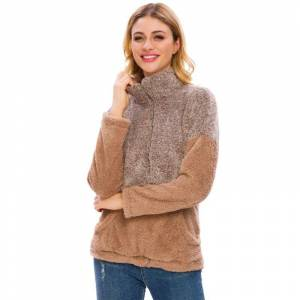 Generic Women's Two Tone Plush Pullover with Pockets