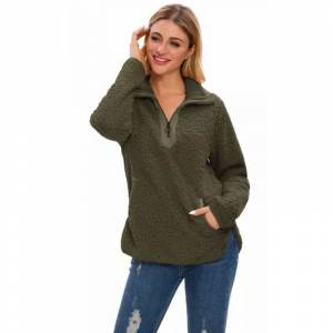 Generic Women's Long Sleeve Loose Sherpa Pullover Stand Collar with Pockets