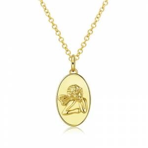 """Generic Thinking Angel 18""""-24"""" Adjustable Necklace Plated in 18K Gold"""