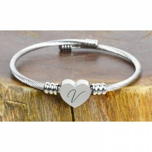 Generic Solid Stainless Steel Heart Cable Bracelets
