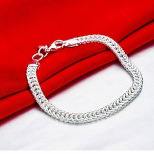 Generic Miami Curb Chain Bracelet Plated in 18K White Gold