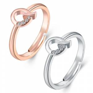 Generic Two 18kt Gold Plated Cubic Zirconia Initial Rings  size: