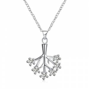 Milano ITALY Jewelry Tree Necklace in 18K White Gold Filled Made with Swarovski Crystals  size: