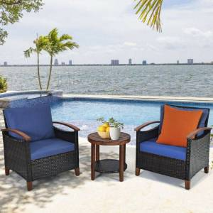 Generic Solid Wood Frame Patio Rattan Furniture Set - 3 Pieces