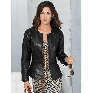 creation L Tailored Cut Leather Jacket  - Black - Size: 16