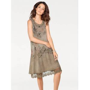 creation L Layered Look Sleeveless Dress  - Brown/Multi/Neutral - Size: 12