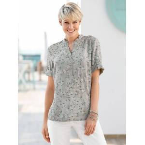 creation L Floral Tab Sleeve Blouse  - Blue/Neutral - Size: 10