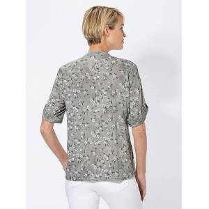 creation L Floral Tab Sleeve Blouse  - Grey - Size: 10