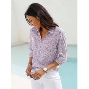 creation L Minimalist Print Shirt Collar Blous  - Multi/Pink - Size: 10