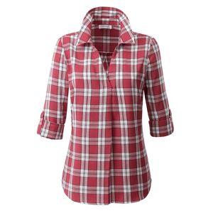 creation L V-Neck Plaid Blouse  - Multi/Red - Size: 10