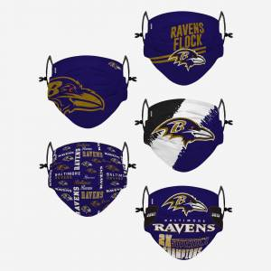 FOCO Baltimore Ravens Youth Rising Stars Adjustable 5 Pack Face Cover