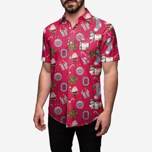 FOCO Ohio State Buckeyes Christmas Explosion Button Up Shirt - 3XL