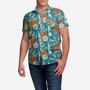 FOCO Miami Dolphins City Style Button Up Shirt - S