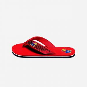 FOCO Kansas Jayhawks Womens Sequin Flip Flop - L