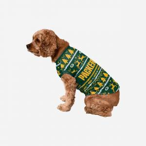 FOCO Green Bay Packers Dog Family Holiday Sweater - L