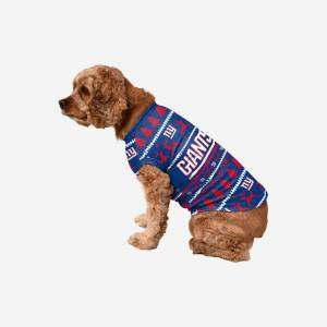 FOCO New York Giants Dog Family Holiday Sweater - L