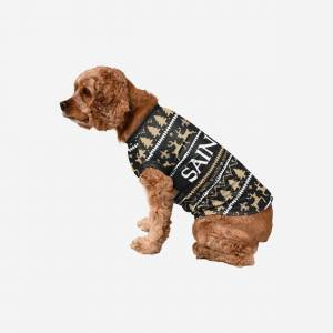 FOCO New Orleans Saints Dog Family Holiday Sweater - L