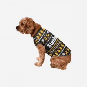 FOCO Pittsburgh Steelers Dog Family Holiday Sweater - L